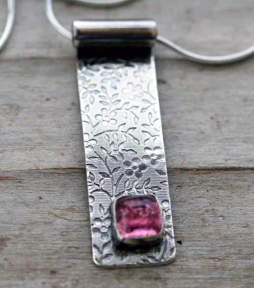 Pink Tourmaline Textured Pendant