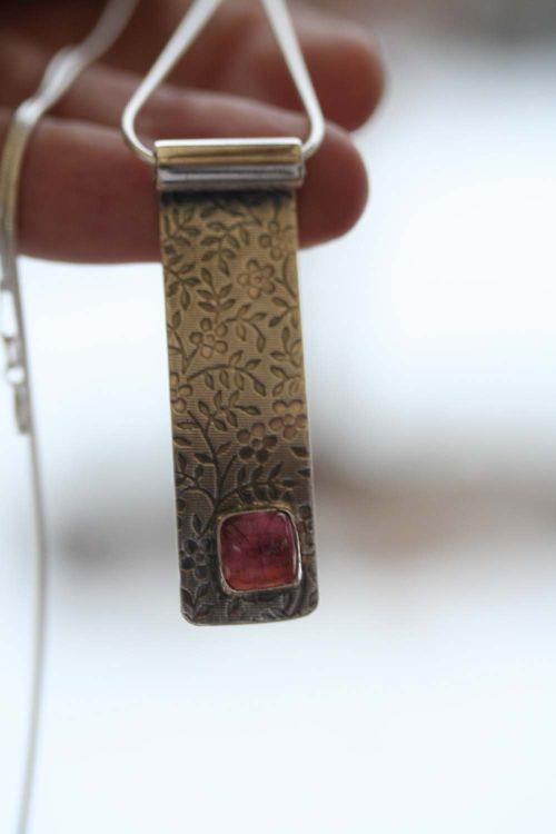 Pink Tourmaline Textured Pendant5